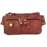 กระเป๋าหนังแท้สะพายหน้าอกหรือคาดเอวบางแนบตัว2ซิปใหญ่ซิปชนสีแทน
