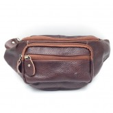 กระเป๋าคาดเอวหนังแท้ซิปยื่นหน้าสีน้ำตาล