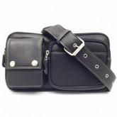 กระเป๋าหนังแท้คาดอกคาดเอวสีดำipadmini