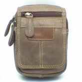 กระเป๋าหนังแท้ใส่มือถือร้อยเข็มขัดซิปหน้าสีน้ำตาลหม่น