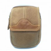กระเป๋าหนังแท้ใส่มือถือร้อยเข็มขัดฝาหน้าสีน้ำตาล