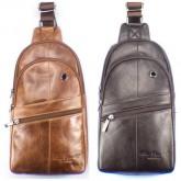 กระเป๋าเป้เดี่ยวหนังแท้ซิปคู่ใหญ่เฉียงiPad-mini2สี