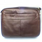 กระเป๋าสะพายหนังแท้ทรงนอนซิปซ่อนหน้าน้ำตาลเข้ม ipad2-3