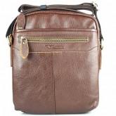 กระเป๋าสะพายหนังแท้ ซิปซ่อนน้ำตาลแดง