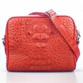 กระเป๋าสะพายหนังจระเข้แท้ทรงเหลี่ยม สีแดงสด