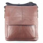 กระเป๋าสะพายหนังแท้ฝาหน้าครึ่งน้ำตาลเข้มเส้นกลางipad2-3