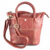 กระเป๋าสะพายหนังแท้ผู้หญิง2หูทรงสูงสีแดง