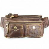 กระเป๋าหนังแท้สะพายหน้าอกหรือคาดเอวบางแนบตัว2ซิปใหญ่เป๋า2ข้างสีน้ำตาลเข้ม