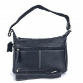 กระเป๋าสะพายหนังแท้ผู้หญิงซิปยาวสีดำ