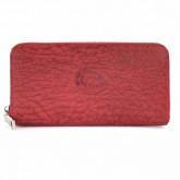 กระเป๋ายาวหนังวัวแท้ซิปรอบลายหนังช้างสีแดง