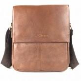 กระเป๋าสะพายหนังแท้ ipad2-3ฝาหน้าครึ่งสีน้ำตาล