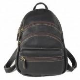 กระเป๋าเป้2สายหนังวัวแท้สีน้ำตาล3ซิปโค้ง
