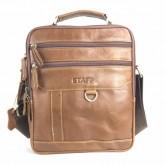 กระเป๋าสะพายหนังแท้หูจับเป๋าซิปคู่หน้า