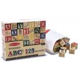 บล๊อกไม้เรียนรู้ตัวอักษร ABC และ 123 - Wooden ABC/123 Blocks ยี่ห้อ Melissa and Doug
