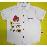 เสื้อเชิ้ตคอปกลายการ์ตูน แองกี้เบิร์ด angry birds ผ้ายืดเนื้อดี สินค้าคุณภาพ ลิขสิทธิ์แท้