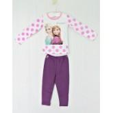 ชุดนอนเด็ก : ชุดนอนผ้าคอตตอนเนื้อดีผสมสแปนเด็กซ์ เสื้อสีขาว Frozen แขนลายจุด กางเกงสีม่วง ผ้าเนื้อดี