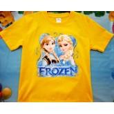 เสื้อยืดคอกลมผ้ายืดลายการ์ตูน Frozen  ผ้ายืด cotton เนื้อดีใส่สบายไม่ร้อน