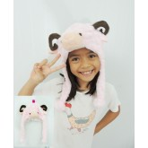 หมวกเด็ก : หมวกขนนิ่มรูปแกะสีชมพูอ่อนมีเขา ขนาดรอบศรีษะ 60 ซม.