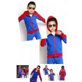 ชุดเด็ก : Set Spiderman เสื้อแขนยาวมีฮู๊ดซิปหน้ากับกางเกงขายาวสีฟ้า-แดง ด้านในบุผ้าขนหนา
