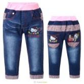 กางเกงเด็กโต : กางเกงยีนส์ขายาวปัก kitty เบิ้ลปลายขา ขอบเอวยืด