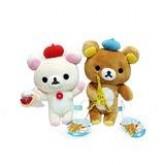 สินค้าลิขสิทธิ์ Rilakkuma คู่ตุ๊กตาหมีรีลัคคุมะถือหอไอเฟลหมวกฟ้า กับโคริลัคคุมะถือขนมหมวกแดง ไปเที่ย