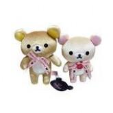 สินค้าลิขสิทธิ์ Rilakkuma คู่ตุ๊กตาหมีรีลัคคุมะ กับโคริลัคคุมะ ขนเงา ผูกโบว์สีชมพู