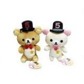 สินค้าลิขสิทธิ์ Rilakkuma คู่ตุ๊กตาหมีรีลัคคุมะ กับโคริลัคคุมะ ใส่หมวกดำทรงสูง ปักเลข 5 ที่พุง