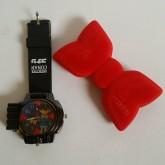 โบว์ทักซิโด้ (อัดเสียง) พร้อม นาฬิกา ข้อมือ ลาย โคนัน (Conan)มีปุ่มกดยิงแสงเลเซอร์ด้วยค่ะ ฝาปิดเป็นพ