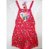 ชุดเอี๊ยมขาสั้นพร้อมเสื้อยืดด้านใน สำหรับเด็กผู้หญิงลายการ์ตูน Barbie ผ้ายืดใส่สบายน่ารัก