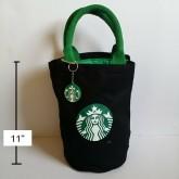 กระเป๋าถือ ผ้า มีผ้าซับในคะ ขนาด 7.5x11 นิ้ว ลาย สตาร์บัค Starbucks
