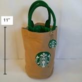 กระเป๋าถือ ผ้า มีผ้าซับในคะ ขนาด 5x7.5 นิ้ว ลาย สตาร์บัค Starbucks