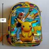 เป้ สะพายหลัง ปีกาจู pikachu โปเกม่อน pokemon ขนาด 11.5x15x4 นิ้ว ตัวปีกาจู เป็น 3 มิติ นูนออกมาค่ะ