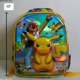 เป้ สะพายหลัง ปีกาจู pikachu โปเกม่อน pokemon ขนาด 10x13x4 นิ้ว ตัวปีกาจู เป็น 3 มิติ นูนออกมาค่ะ