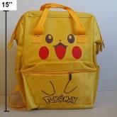 เป้สะพายหลัง (ผ้าแคนวาส) มีสายสำหรับถือด้วย ลาย ปีกาจู pikachu โปเกม่อน pokemon ขนาด 10.5x15x5 นิ้ว