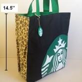 กระเป๋าถือ ผ้า มีผ้าซับในคะ ขนาด 12x14.5 นิ้ว ลาย สตาร์บัค Starbucks