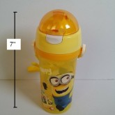 กระติกน้ำ BPA Free ลาย มิเนียน Minion (Despicable Me) มีหลอดในตัว ถอดสายได้ ขนาดสูง 7 นิ้ว