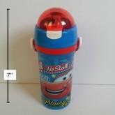 กระติกน้ำ BPA Free ลาย คาร์ แม็คควีน Car Mcqueen มีหลอดในตัว ถอดสายได้ ขนาดสูง 7 นิ้ว