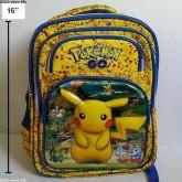 เป้ สะพายหลัง ปีกาจู pikachu โปเกม่อน pokemon ขนาด 12x16x5 นิ้ว ตัวปีกาจู เป็น 3 มิติ นูนออกมาค่ะ