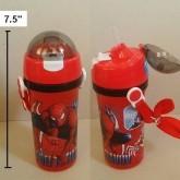 กระติกน้ำ BPA Free ลาย สไปเดอร์แมน Spiderman มีหลอดในตัว ถอดสายได้ ขนาดสูง 7.5 นิ้ว