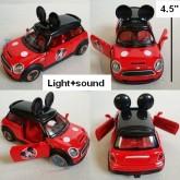 Mickey mouse มิกกี้เม้าส์ Model โมเดล รถเหล็ก ประตูเปิดได้คะ มีไฟมีเสียง ขนาด กว้าง 4.5 นิ้ว ดึงถอยห