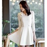 ชุดแฟชั่นเดรสเกาหลี งานนำเข้าค่ะ  สีและแบบตามรูปเป๊ะๆๆ สีขาว