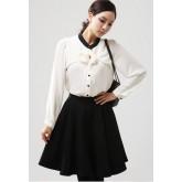 เสื้อเชิ๊ตแขนยาว ผ้าชีองเนื้อทราย ซ้อนผ้า 2 ชั้นแต่งโบว์ช่วงอก สวยมากค่ะ สีขาว