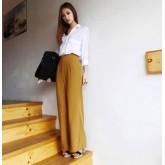 กางเกงทรงกระโปรงผ้า spandek เนื้อดีมากทิ้งตัว ผ้าเด้งดึ๋งๆ สีเหลือง