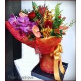 ช่อกล้วยไม้แวนด้ากุหลาบแดง(bouquet)