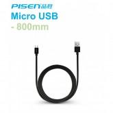 Pisen สายชาร์จ Micro USB 800 mm สีดำ สำหรับ Samsung และ Android smart phone รุ่นอื่นๆที่รองรับ