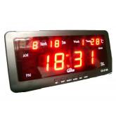 นาฬิกาปลุก ตั้งโต๊ะ ติดผนัง LED พร้อมวันที่ ขนาด 7 นิ้ว - ไฟสีแดง