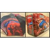 Spiderman พิิเศษ!! กล่องข้าว กล้องใส่อาหาร กล่องใส่ของ กล่องอเนกประสงค์ + ร่มหัวโมเดล จัด Set คู่