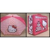 Hello Kitty พิิเศษ!! กล่องข้าว กล้องใส่อาหาร กล่องใส่ของ กล่องอเนกประสงค์ + ร่มหัวโมเดล จัด Set คู่