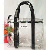 Chanel Transparent Zippy Tote Bag กระเป๋าถือพลาสติกใสสกรีนโลโก้สีดำมีซิป