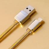 Remax สายชาร์จ Lightning Charger รุ่น Gold Safe  Speed-สำหรับ iPhone,Samsung (สีทอง)